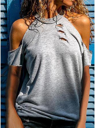 Sólido Ombros à Mostra Manga Curta Casual Sexy Camisetas