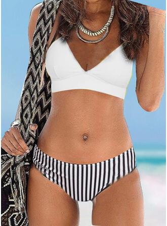 Solid Color Stripe Strap V-Neck Sexy Vintage Bikinis Swimsuits