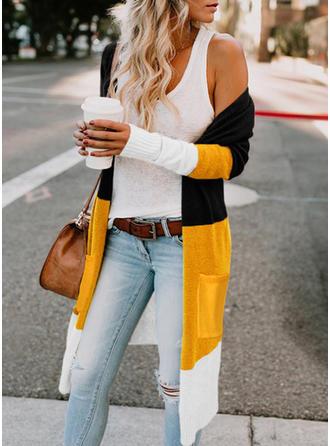 Cotton Blends Long Sleeves Color Block Pocket