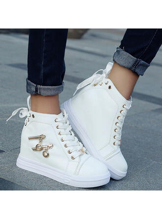 Women's Leatherette Wedge Heel Closed Toe Boots High Top Round Toe With Zipper Lace-up shoes
