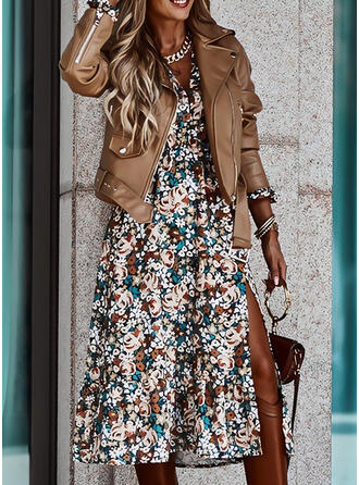 Print/Floral Long Sleeves A-line Skater Casual Midi Dresses