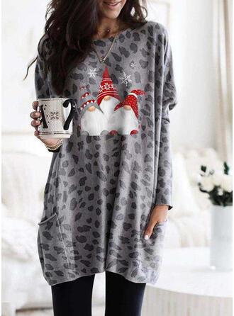 Распечатать леопард Шею Длинные рукова Рождественская толстовка