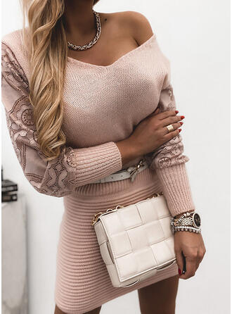 Solid Blonder V-hals Casual Lang Genserkjole
