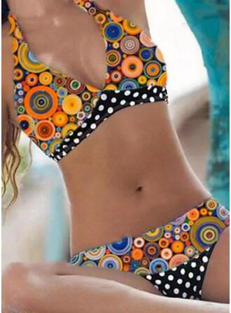 Groszki Nadruk Dekolt w kształcie litery V Bez ramiączek Duży rozmiar Kolorowy retro Bikini Stroje kąpielowe