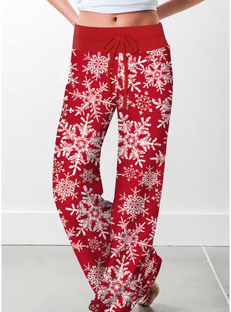 Nadruk Sznurek do ściągacza Boże Narodzenie Nieformalny Zabytkowe Spodnie