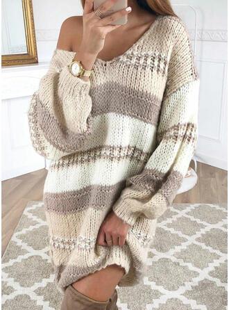Bloque de Color Punto Grueso Cuello en V Casuales Largo Vestido de Suéter