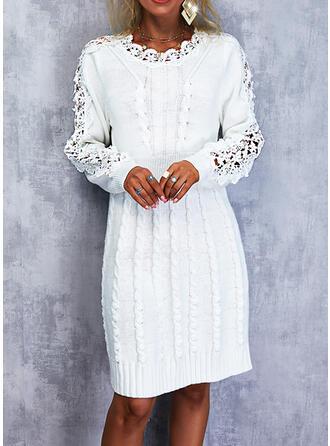 Solid Dantel Mâneci Lungi Shift Elbiseleri Deasupra Genunchiului Zarif Pulover Elbiseler