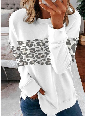 Leopard Round Neck Long Sleeves Sweatshirt