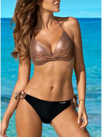 Culoare tare Triunghi Se leagă după gât Decolteu în V Sexy Elegant Bikini Mayolar
