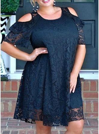 Plus velikost Krajka Pevný 1/2 rukávy Rukáv s Odhalenými Rameny Šaty Shift Délka ke kolenům Neformální Elegantní Šaty