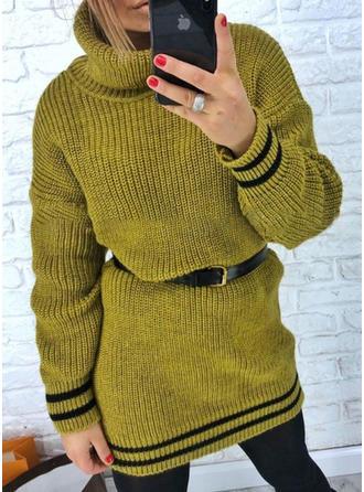 Cu Dungi Tricot Cablu Bucată tricotată Helancă Rochie pulover