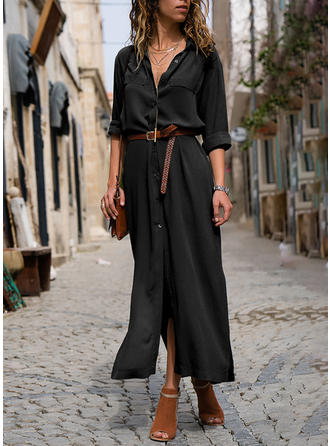 Solid Long Sleeves A-line Little Black Maxi Dresses