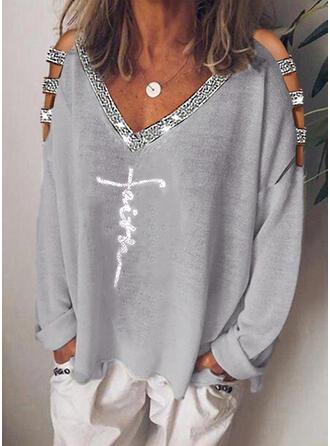 Print Pailletten Cold Shoulder Lange Mouwen Casual Overhemd
